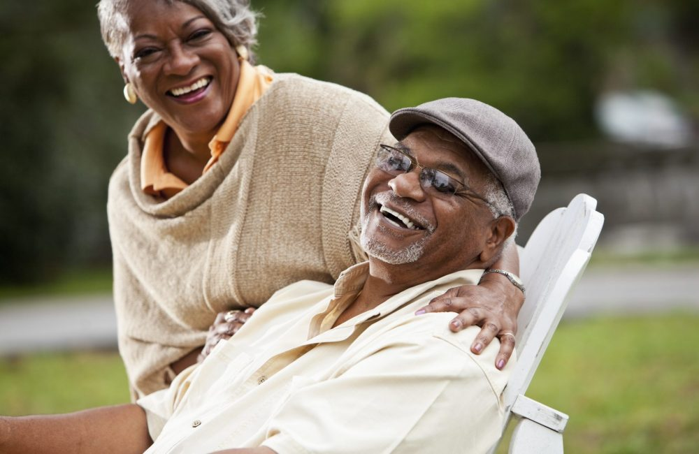 Portrait of stylish senior African American couple.  Focus on man (60s).